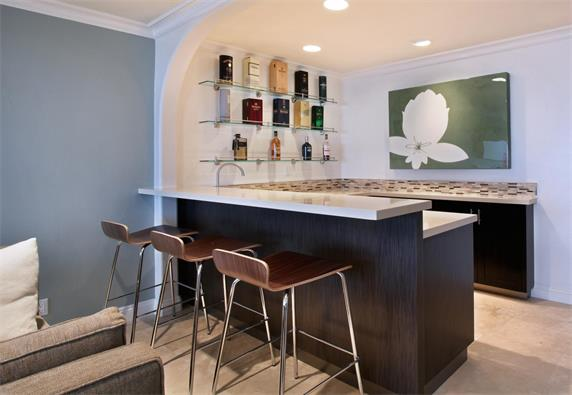 Small Home Bar Counter Artificial Stone Top Custom Design