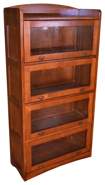 Mission Craftsman Style Quarter Sawn Oak 4 Stack Barrister Bookcase