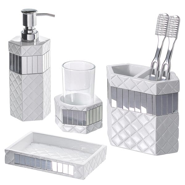 Shop Quilted Mirror 4-piece Bathroom Accessory Set - Free Shipping
