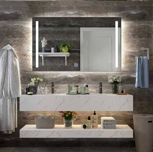 DIYHD Wall Mount Led Lighted Bathroom Mirror Vanity Defogger 2