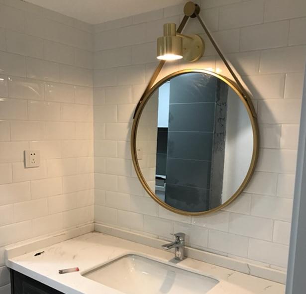 Iron Wall Hanging Personality Round Mirror Creative Bathroom Mirror