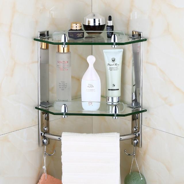 European bathroom glass corner shelf wall mounted shelf ,stainless