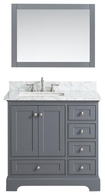 Jocelyn Bathroom Sink Vanity Set, White Marble Top - Transitional