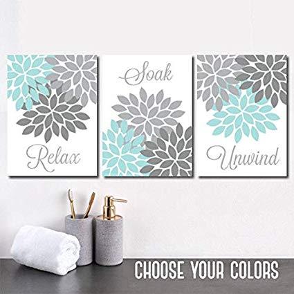 Amazon.com: Aqua Gray Bathroom Wall Art Canvas or Prints Flower