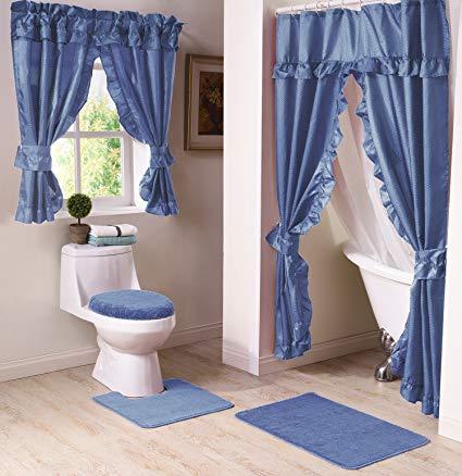 Amazon.com: Madison Starlite Deluxe Swag Shower Blue Bathroom Window