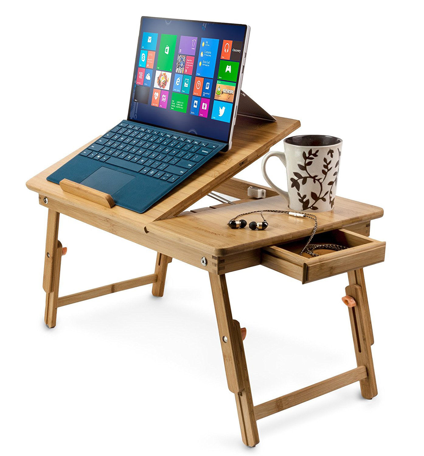Zimtown Nature Bamboo Folding Laptop Computer Notebook Table Bed