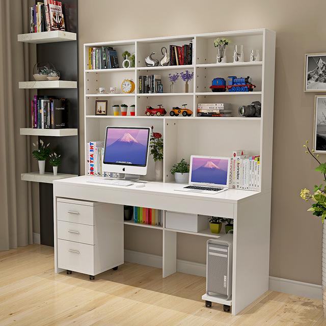 Computer desk with a simple modern desktop bookcase desk bookcase