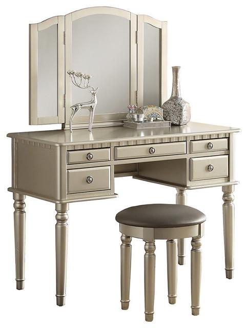 3-Piece Bedroom Vanity Set, Champagne Silver - Traditional - Bedroom