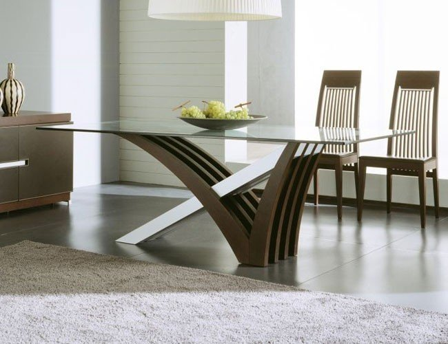 Glass Top Dining Tables With Wood Base - Ideas on Foter