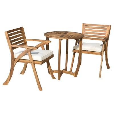 Coronado 3pc Acacia Wood Patio Bistro Set With Cushions - Teak