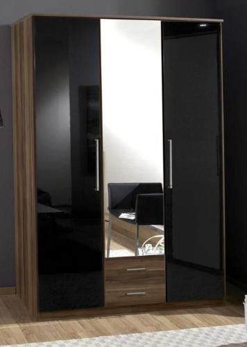 Dresden 3 Door 2 Drawer German Wardrobe Black Gloss and Walnut 136484