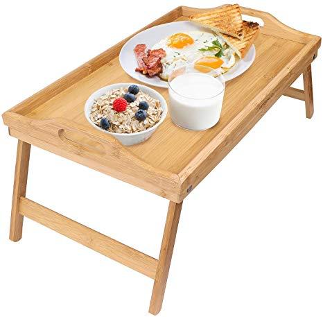 Amazon.com: Greenco Bamboo Foldable Breakfast Table, Laptop Desk