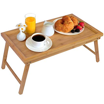 Amazon.com: Bed Tray Table with Folding Legs,Serving Breakfast in