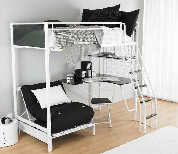 girls loft bed with desk | Functional teen room furniture ideas