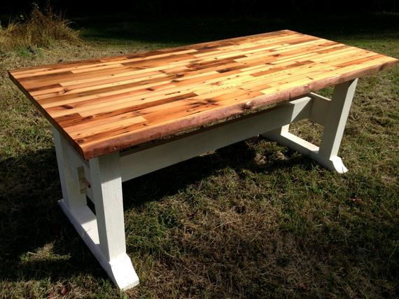 Butcher block table top and trestle frame | Etsy