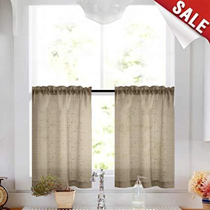 Amazon.com: Taupe Tier Curtains 24 inch Rod Pocket Kitchen Window