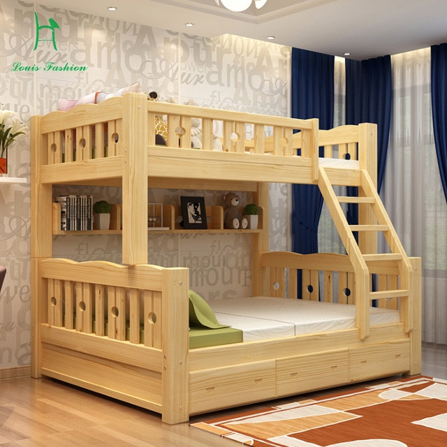 Solid wood bunk bed children wooden upper and lower level students
