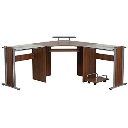 Amazon.com: Wood And Glass Corner Desk u2013 u201cFleuru201d Small Computer