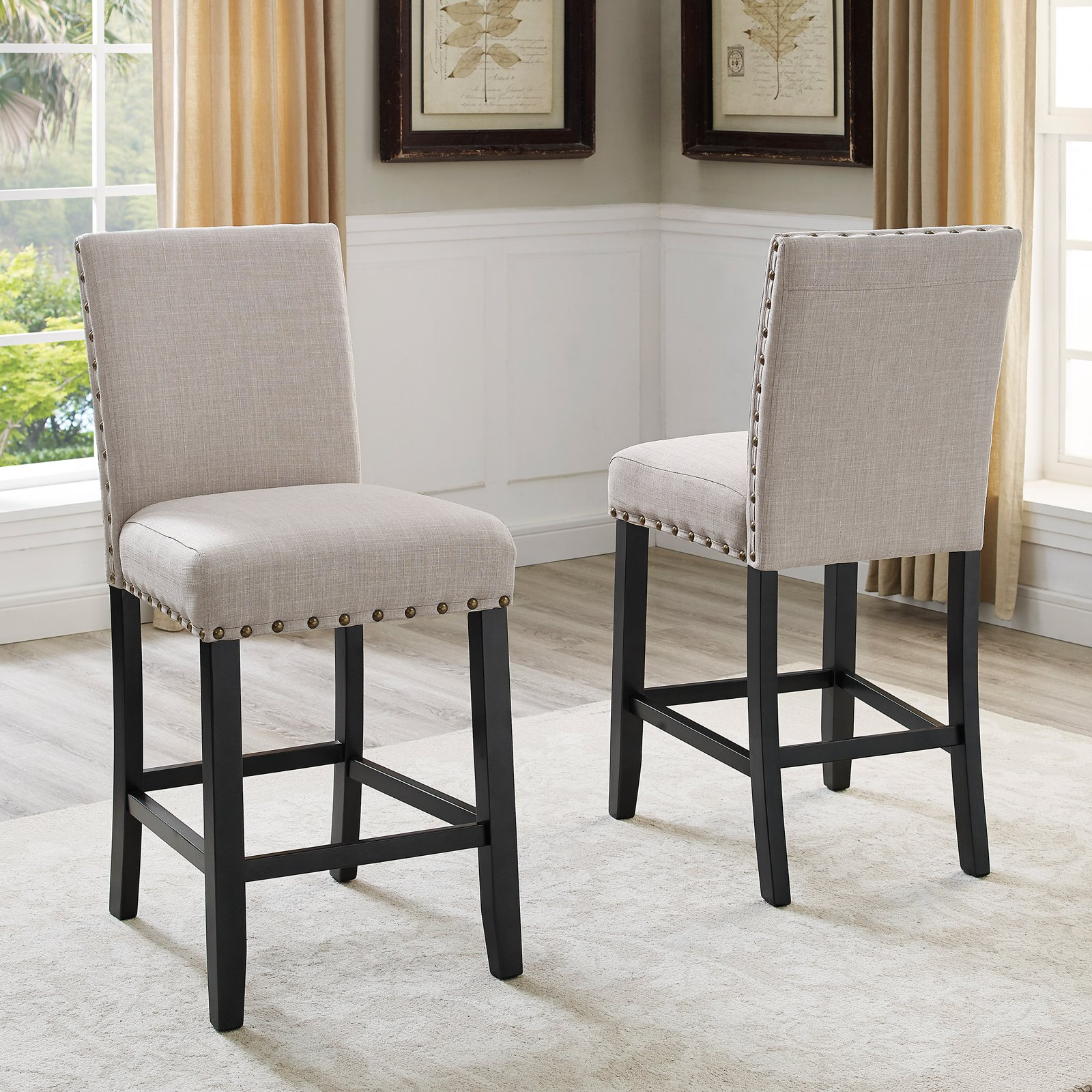 Roundhill Furniture Biony Fabric Nail Head Counter Height Stools