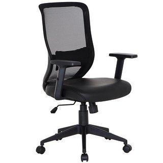 Shop Office Chairs PU Cushion Adjustable Swivel Mesh Desk Chairs