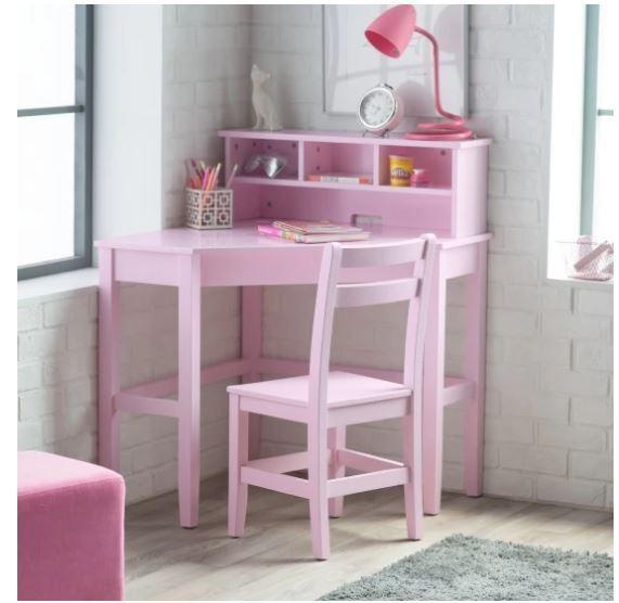School Desk Kid Computer Chair Set Girl Corner Hutch Writing Pink