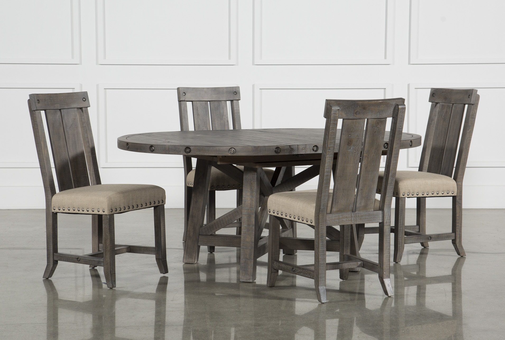 Jaxon Grey 5 Piece Round Extension Dining Set W/Wood Chairs | Living