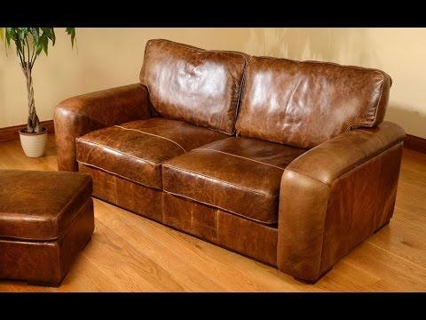 Distressed Leather Sofa with Nailhead Trim UK - YouTube