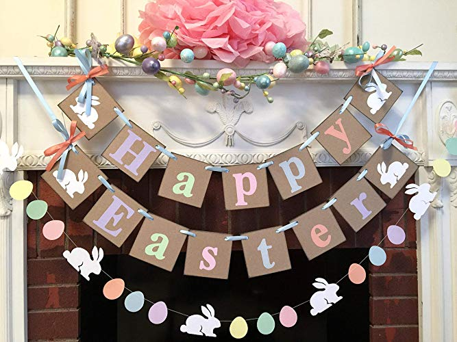 Amazon.com: Country Easter decorations BC- Happy EASTER Mantle or