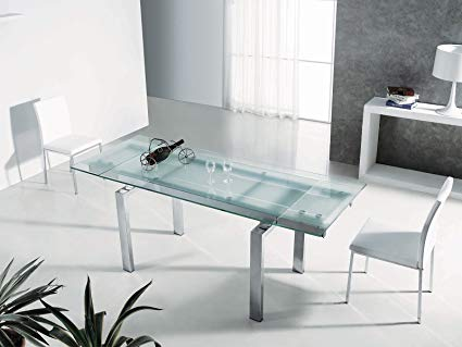 Amazon.com - FROSTY Chrome / Clear & Frosted Glass Extendable Dining