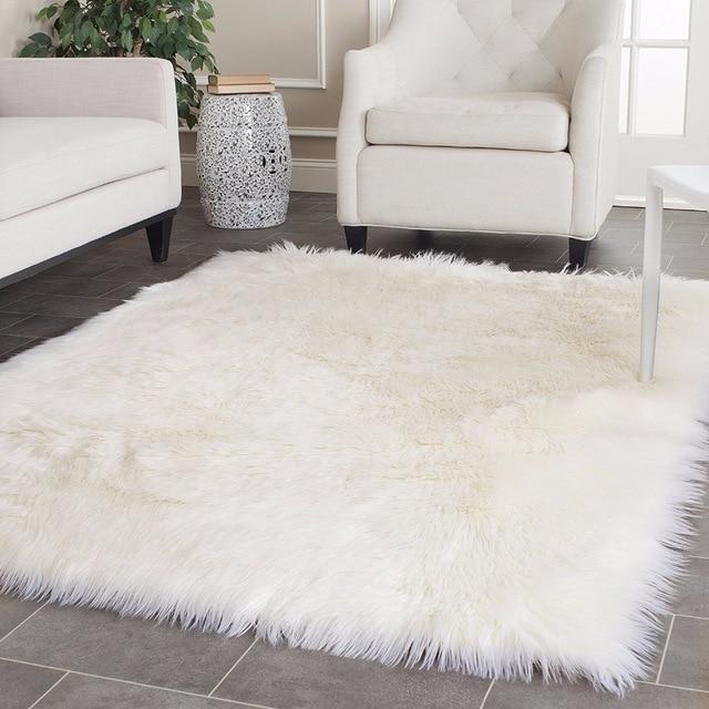 White Faux Sheepskin Rug Long Wool Faux Fur Blanket Decorative