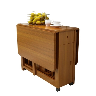 Solid wood dining table folding table simple retractable oak table