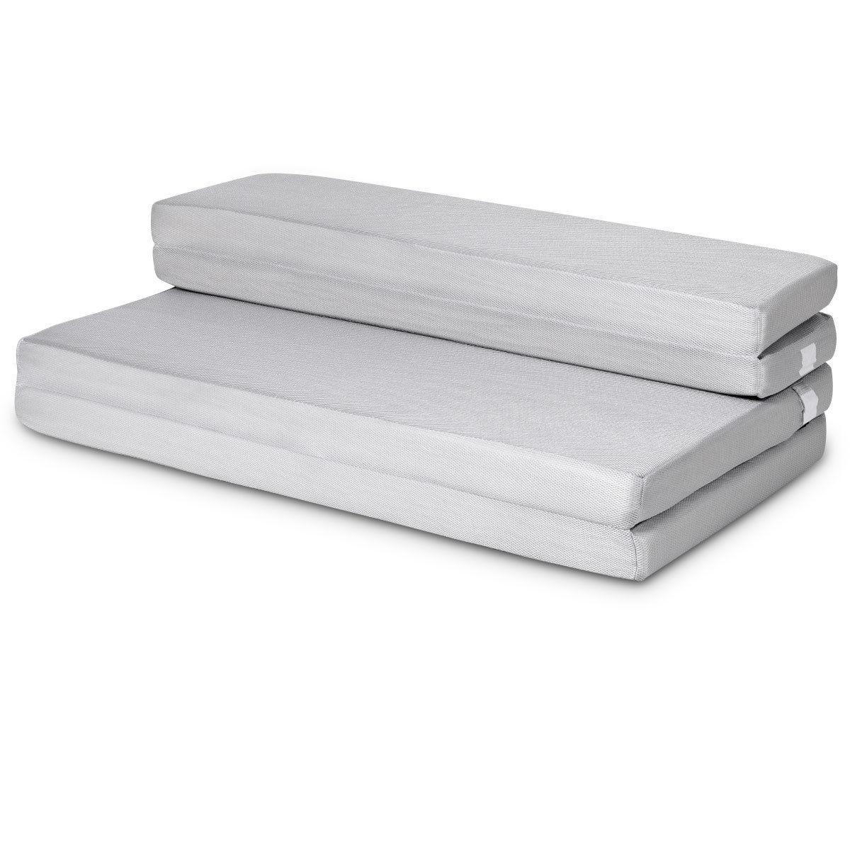 Gymax 4'' Full XL Size Foam Folding Mattress Sofa Bed Guests Floor