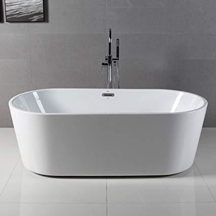 FerdY 67'' Freestanding bathtub, White Modern Stand Alone bathtub