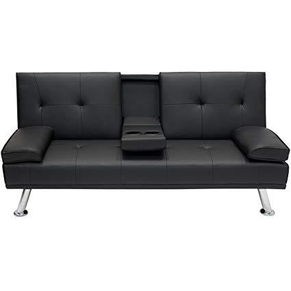 Amazon.com: Modern Entertainment Futon Black Sofa Bed Fold Up & Down
