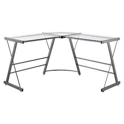 Portland Glass L Shaped Computer Desk Gray - Room & Joy : Target