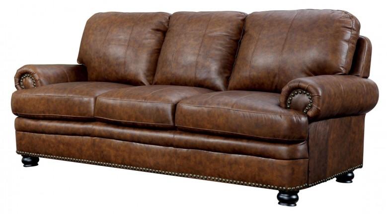 Furniture of America Rheinhardt Top Grain Leather Sofa - Rheinhardt
