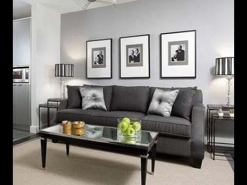 Living room grey walls black furniture interior design ideas - YouTube