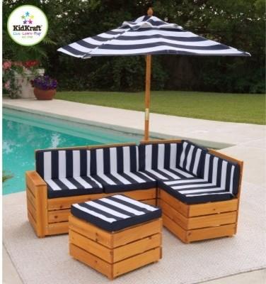KidKraft Kids Outdoor Sectional Patio Set - Modern - Outdoor Sofas