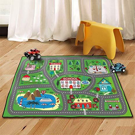 Amazon.com: Kids Rug Street Map Play Mat, Theme Park Educational