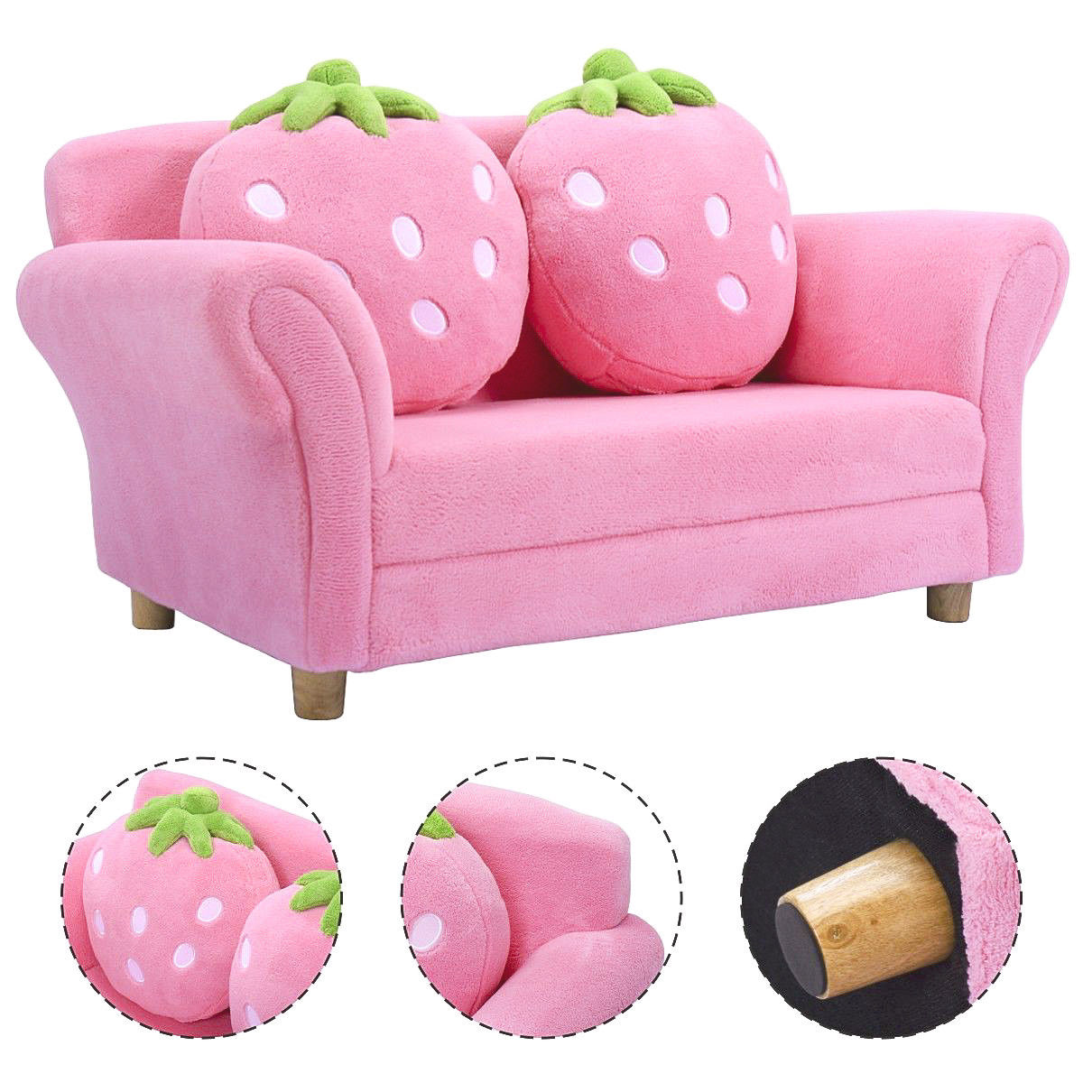 Costway Kids Sofa Strawberry Armrest Chair Lounge Couch w/2 Pillow