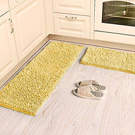 Amazon.com: Ustide Shaggy Chenille Rug 2-Piece Kitchen Rug Set