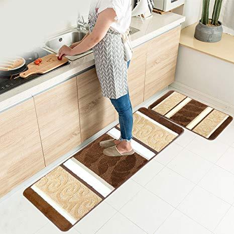 Amazon.com: HEBE Kitchen Rugs Set 2 Piece Non-Slip Kitchen Mats and