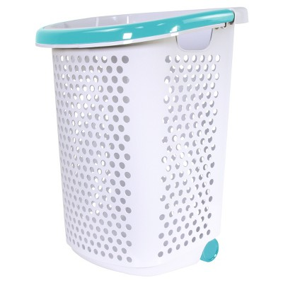 Home Logic Rolling Laundry Hamper with Handles White/Teal - Room Essentials™