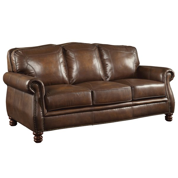 Darby Home Co Linglestown Leather Sofa & Reviews   Wayfair