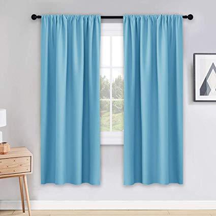 Amazon.com: PONY DANCE Blue Curtains 72 inch - Light Blocking