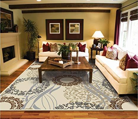 Amazon.com : Modern Rugs For Living Room Cream Rug 5 by 8 rug luxury