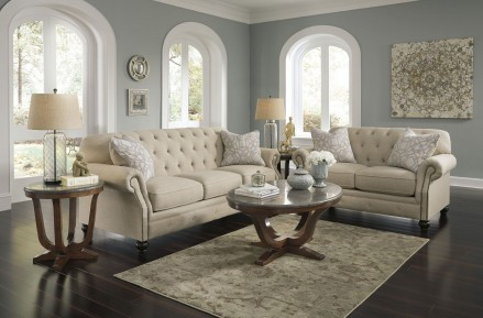 Signature Design by Ashley Kieran Natural Living Room Set - Kieran