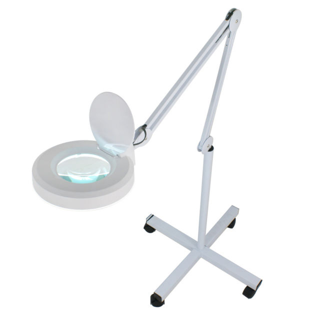 Rolling Adjustable Magnifying Lamp Beauty Standing Mag Light Salon