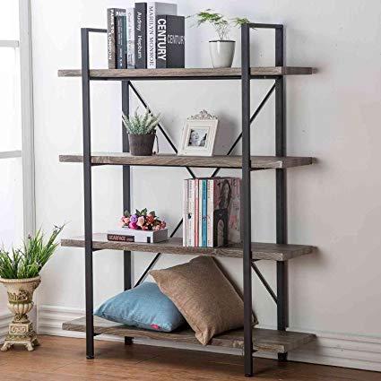 Amazon.com: HSH Furniture 4-Shelf Vintage Industrial Bookshelf