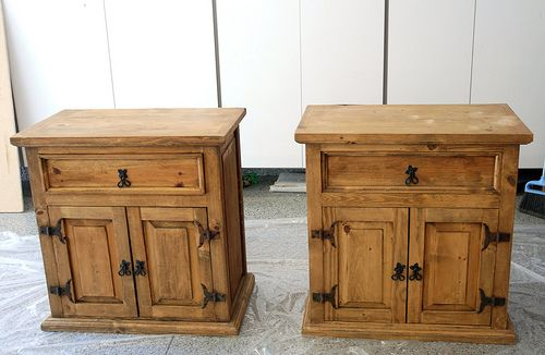 Refinish mexican pine. Nightstands before they were painted. I am